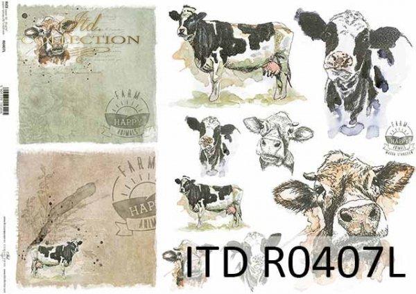 R0405L * R0407L * łaciata krowa, głowy krowy, napisy 'happy farm'