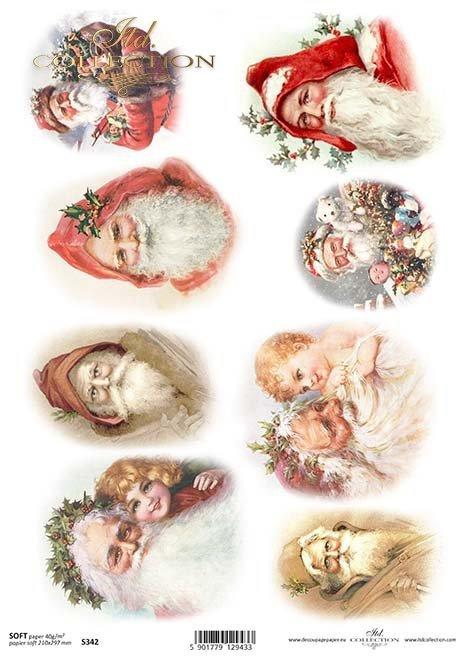El decoupage de papel de Navidad, Santa Claus*Papír decoupage Vánoce, Santa Claus*Das Papier decoupage Weihnachten, Weihnachtsmann
