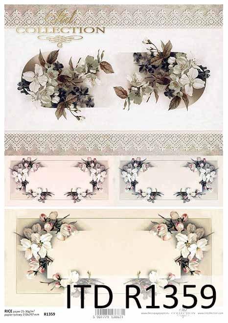 papier ryżowy decoupage kwiaty, wiosenne dekory, koronka*rice paper decoupage flowers, spring decors, lace