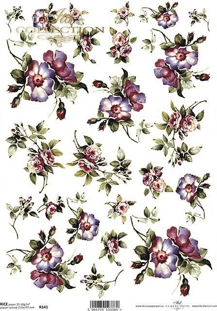 papier-decoupage-dzika-róża-kwiaty-liście-róże-ogród-łąka-R0141