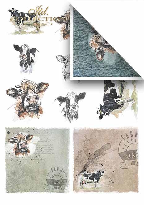 Papeles para scrapbooking en sets - una granja alegre parte 2 * Бумаги для скрапбукинга в наборах - веселая ферма часть 2