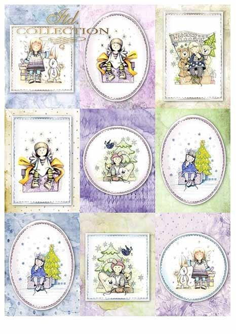 Papiery do scrapbookingu w zestawach - Aniołki i prezenty*Scrapbooking papers in sets - Angels and gifts