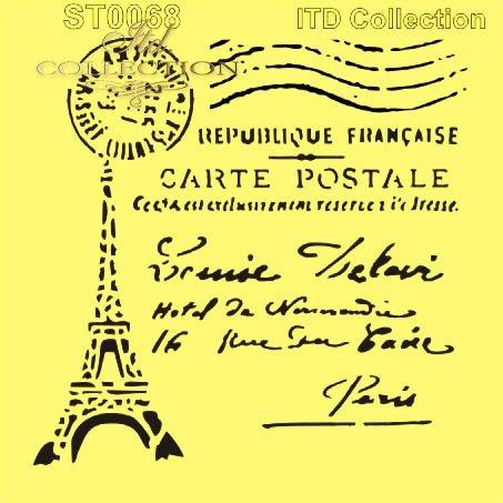 ST0068 - wieża Eifla, stara pocztówka, stempel pocztowy