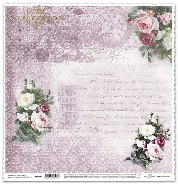 Papír na scrapbooking - kytice růží, Vintage*Papel para álbumes de recortes - ramos de rosas, de la vendimia*Papier für das Scrapbooking - Sträuße von Rosen, Vintage
