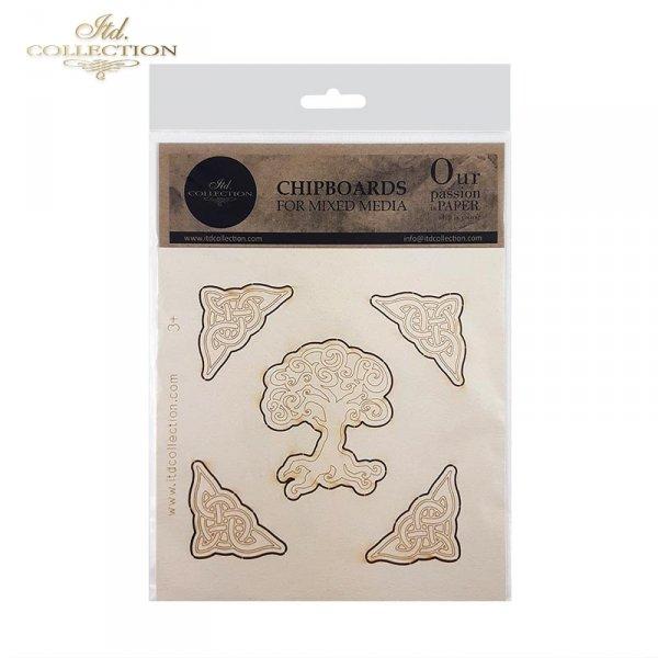 Tekturka do scrapbookingu, mix media, decoupage*symbole elfickie, ornamenty celtyckie