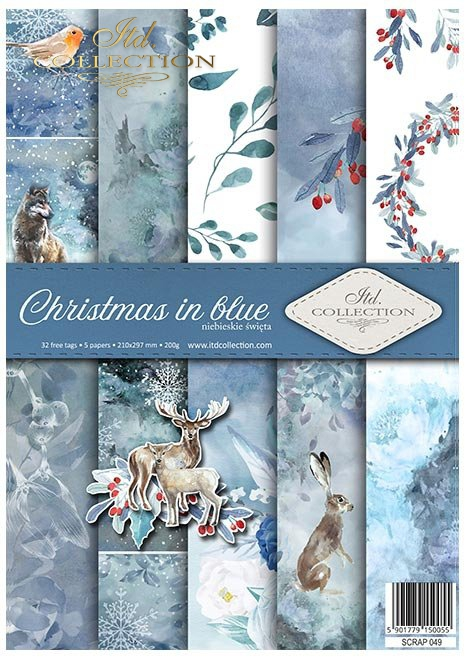 Papiery do scrapbookingu w zestawach - Święta w błękicie * Scrapbooking papers in sets - Christmas in blue