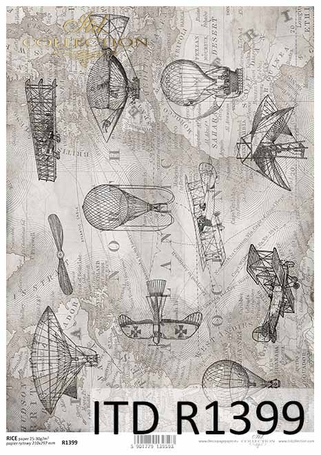 Rice paper R1399 - Paper for decoupage rice * map in gray, planes ...