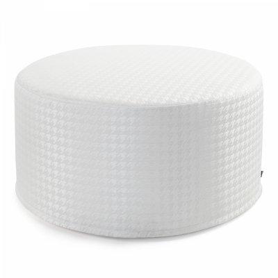 Duża biała pufa w pepitkę 60x30