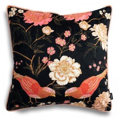 Różowa poduszka dekoracyjna Bażanty 45x45