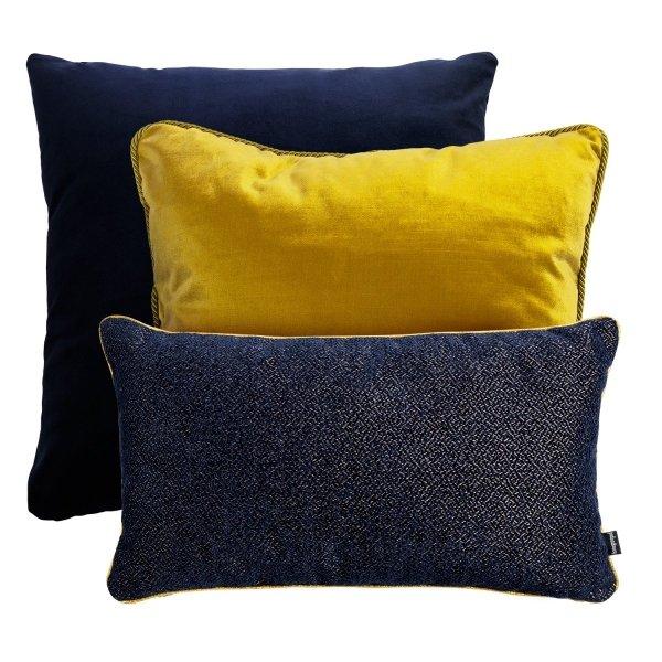 Granatowo-złoty zestaw poduszek dekoracyjnych Alaska