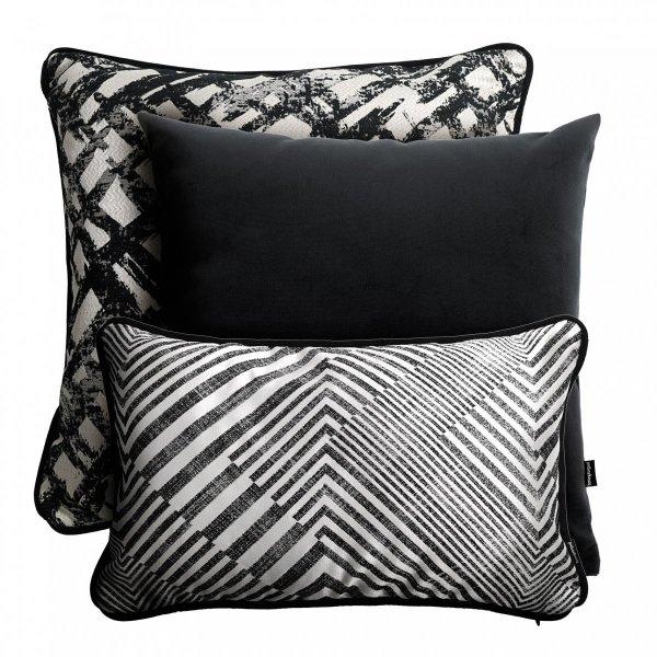 Srebrno czarny zestaw poduszek dekoracyjnych Glam