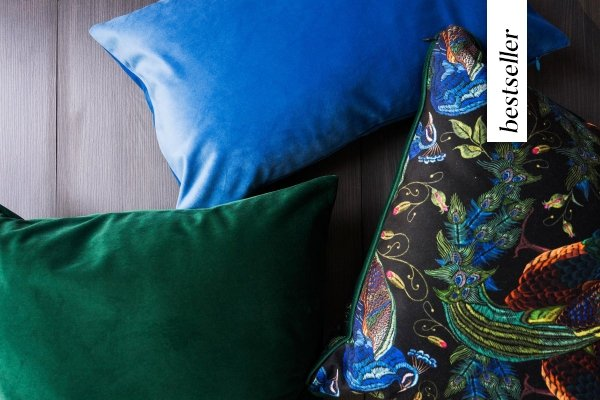 Zielono-niebieski zestaw poduszek Peacock
