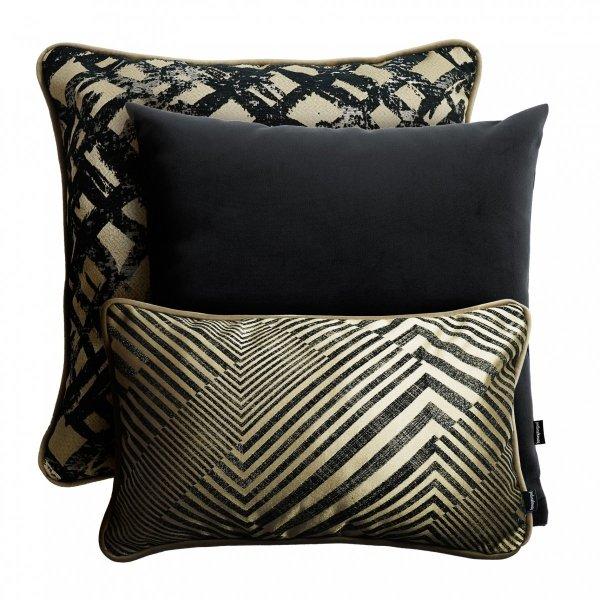 Beżowo czarny zestaw poduszek dekoracyjnych Glam