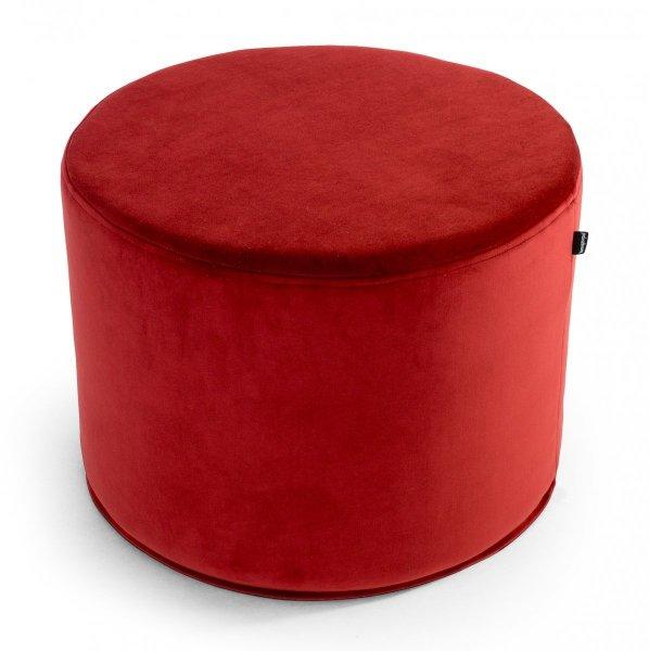 Czerwona pufa welurowa 45x35