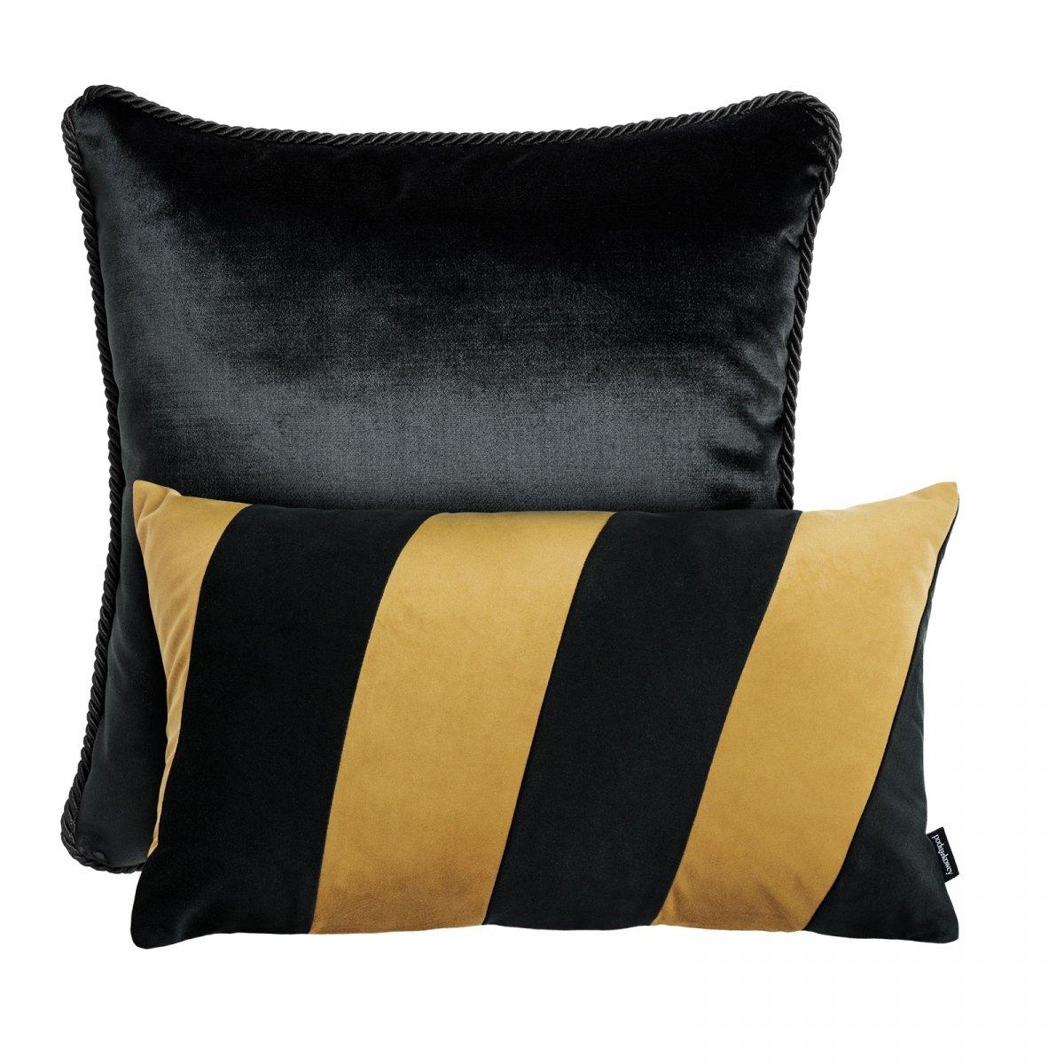 Czarno złoty zestaw poduszek dekoracyjnych Glamour + Stripes