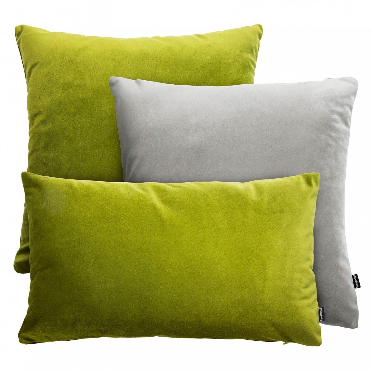 Zielono-szary zestaw poduszek Velvet