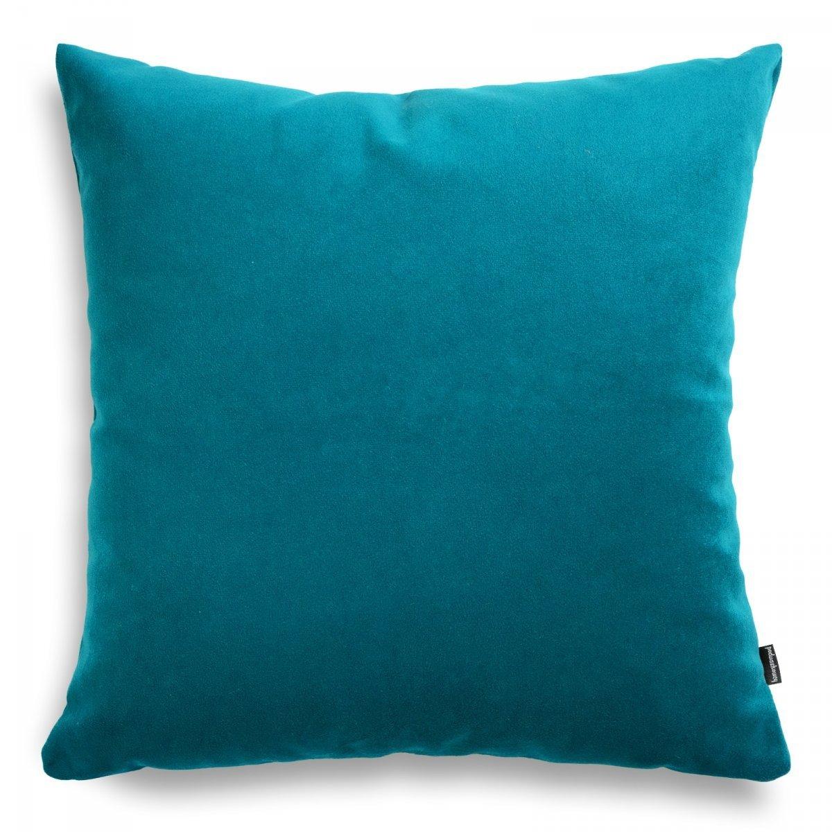 Pram turkusowa welurowa poduszka dekoracyjna 45x45 cm