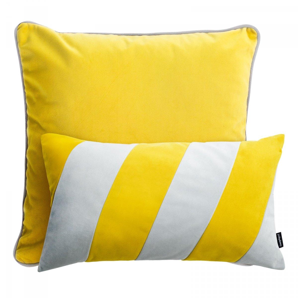 Żółty zestaw poduszek dekoracyjnych Duo+Stripes