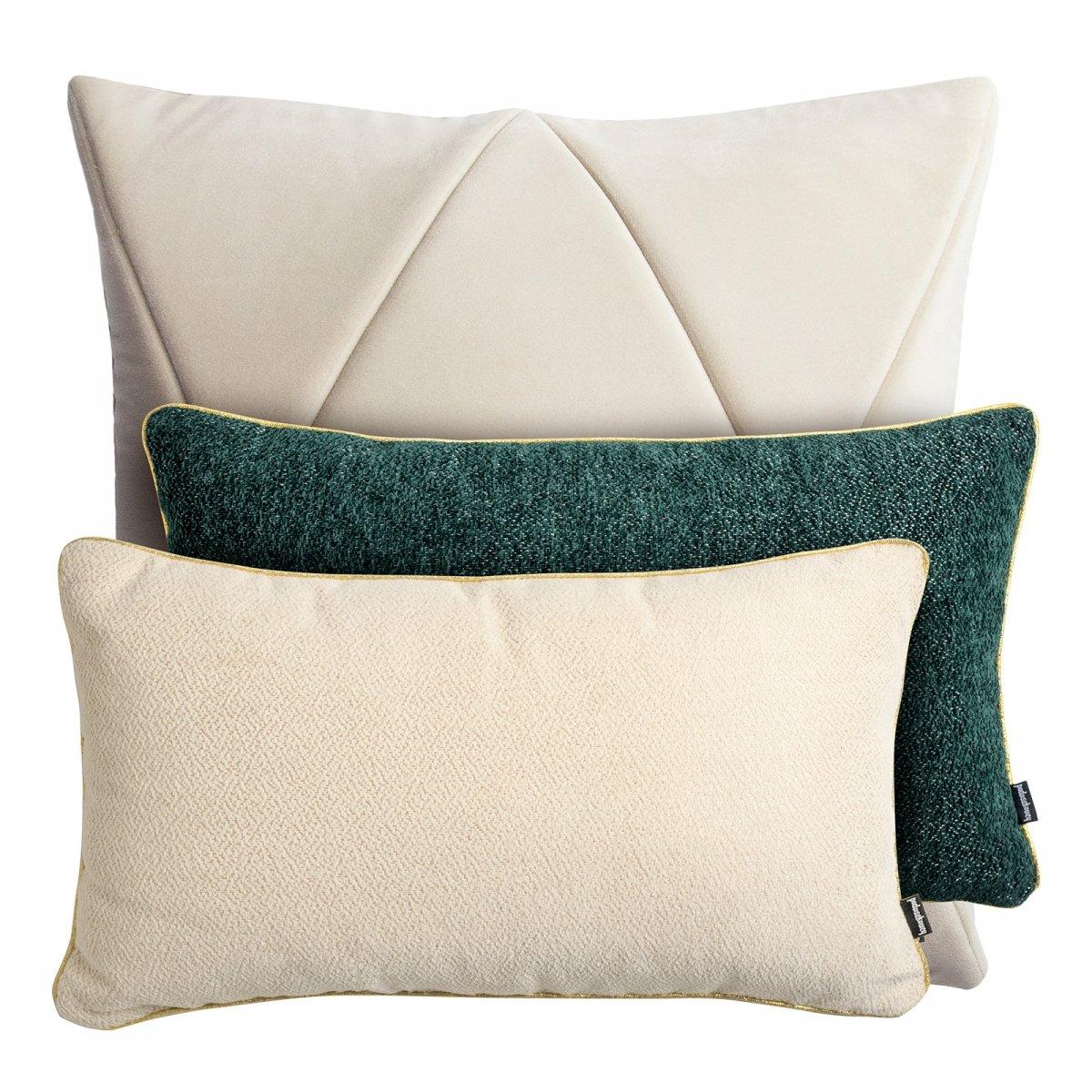 Kremowy zestaw poduszek dekoracyjnych