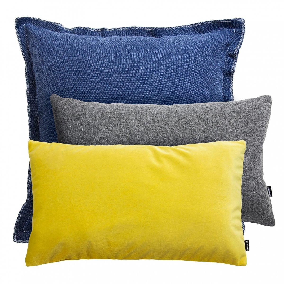 Niebiesko żółto szary zestaw Velvet + Loft + Wełna