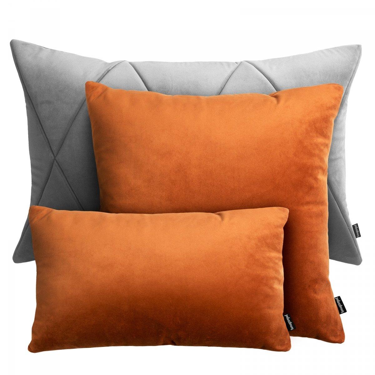 Rudo szary zestaw poduszek dekoracyjnych Velvet + Touch