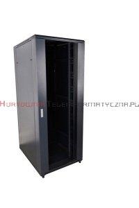 CC Szafa RACK 19 stojąca 42U 800x800 drzwi blacha/szkło, czarna