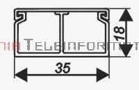 EMITER kanał / koryto kablowe PCW LS 35x18 z przegrodą stałą symet. białe