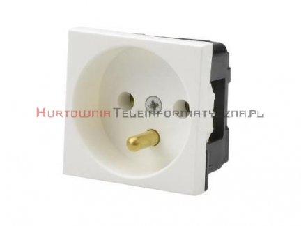 JAVEL gniazdo elektryczne 1x230 z uziemieniem, białe 45x45 2mod.