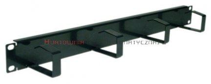 BKT Organizator poziomy kabli 19 1U - z metalowymi uszami czarny