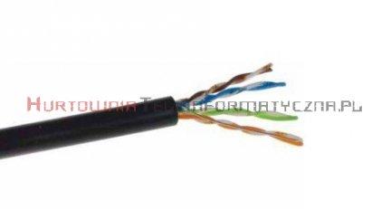 SecurityNET kabel U/UTP kat. 5e, drut, PVC/PE zewnętrzny żelowany, czarny