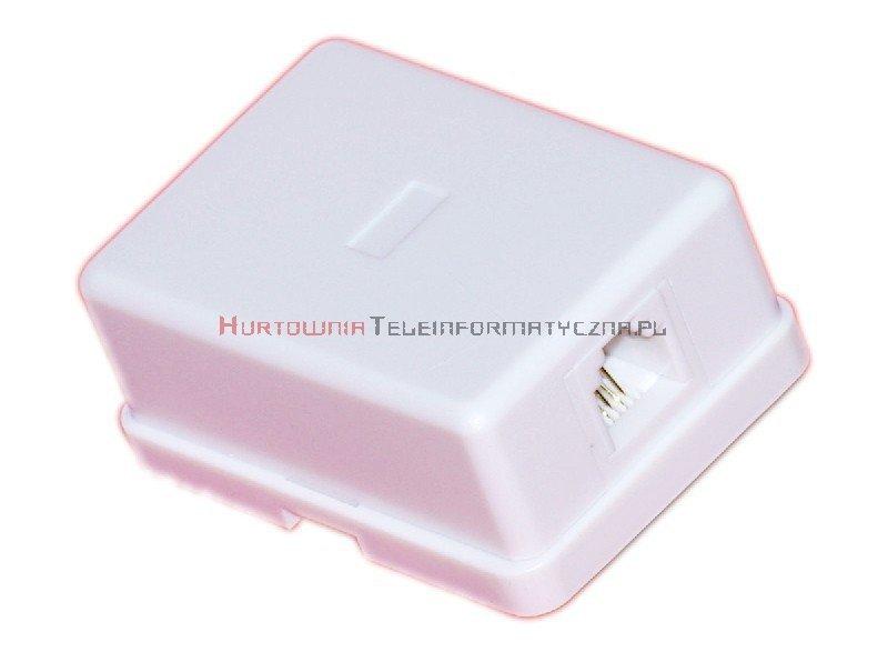 Gniazdo telefoniczne natynkowe 1 x RJ12 kompletne białe MIDI (prostokąt)
