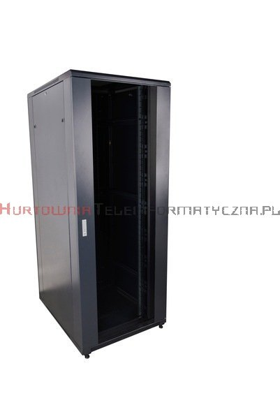 """CC Szafa RACK 19"""" stojąca 42U 800x800 drzwi blacha/szkło, czarna"""