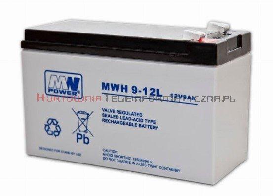 MW POWER Akumulator AGM 12V 9,0 Ah, przyłącze F2 6,7mm (6-9 lat)
