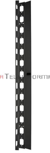 BKT Organizator pionowy kabli do szafy 42U - z metalowymi uszami i zamykaną listwą zaślepiającą, czarny