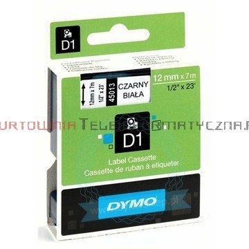 DYMO D1 Taśma 12mm/7m Czarno/Biała