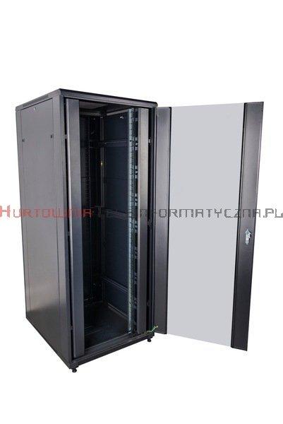"""CC Szafa RACK 19"""" stojąca 42U 800x1000 drzwi blacha/szkło, czarna"""