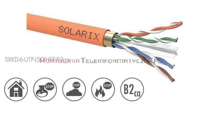 SOLARIX kabel U/UTP, drut, LSOHFR B2ca, pomarańczowy kat.6 - 500m