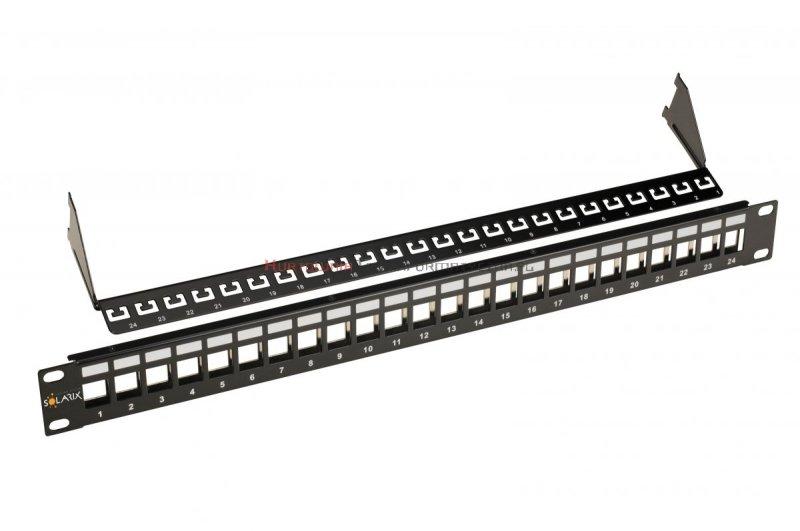 SOLARIX Patch Panel modularny 24 porty nieobsadzone 10G, wsporniki, czarny 1U