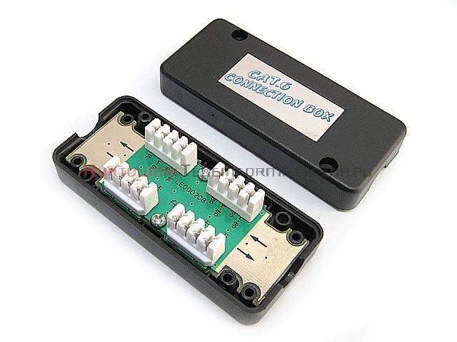 Łącznik kabla kat. 6, LSA, UTP/FTP, obudowa plastikowa czarna
