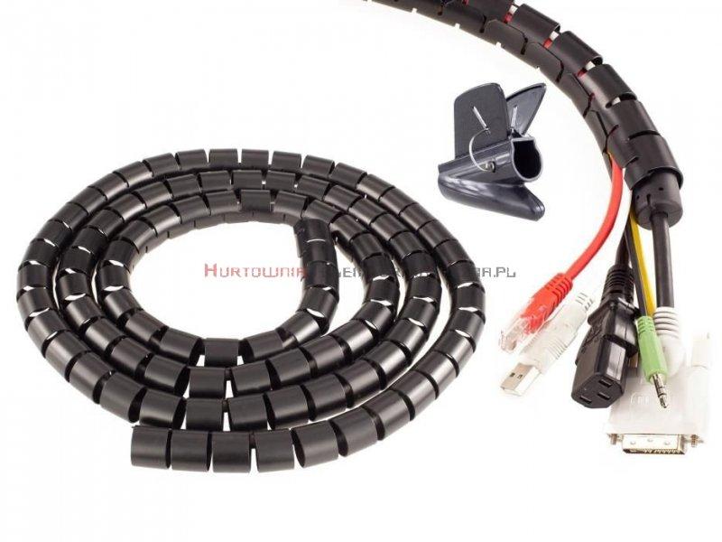 Organizator kabli okrągły spiralny fi25mm / 2m czarny