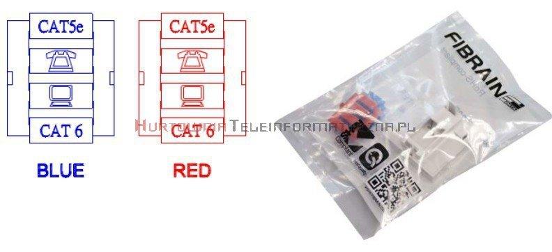FIBRAIN DATA adapter prosty 1mod. 1xRJ45 z plakietką opisową i klapką.