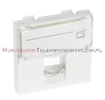 Adapter prosty 2 mod. 45x45mm pod keyston 1xRJ45, z klapką przeźroczystą