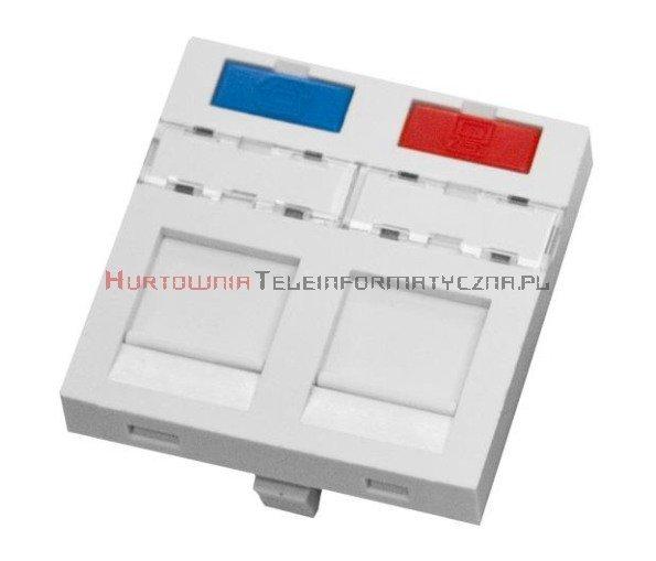 SOLARIX adapter prosty 2mod. 45x45mm pod keyston 2xRJ45 z plakietką opisową i klapką,