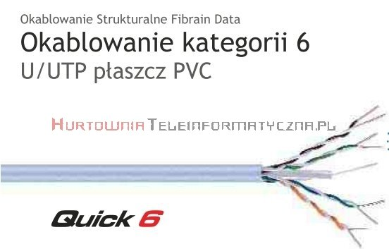 FIBRAIN DATA Quick kat.6 U/UTP 500Mhz, drut, PVC szary