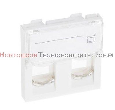 Adapter prosty 2 mod. 45x45mm pod keyston 2xRJ45, z klapką przeźroczystą
