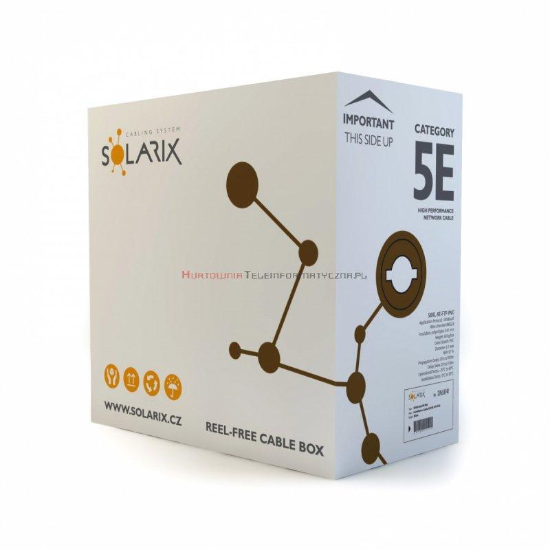 SOLARIX kabel F/UTP, linka, PVC, szary, kat.5e - 305m
