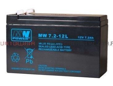 MW POWER Akumulator AGM 12V 7,2 Ah, przyłącze F2 6,3mm (6-9lat)