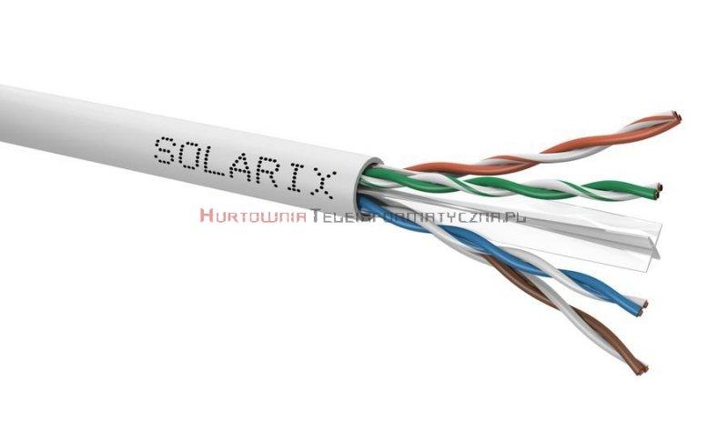 SOLARIX kabel U/UTP, drut, PVC Eca, szary, kat.6 - 305m