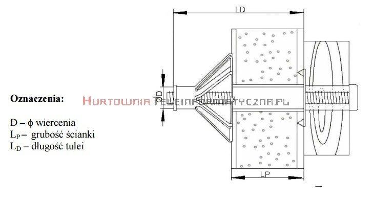 TECHNOX Kołki stalowe ocynk typu MOLLY 8x38, gr. ścianki 10-19mm (25szt)