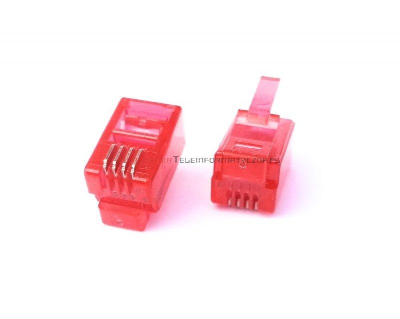 Wtyk RJ09 mikrowtyczna 4p4c czerwona